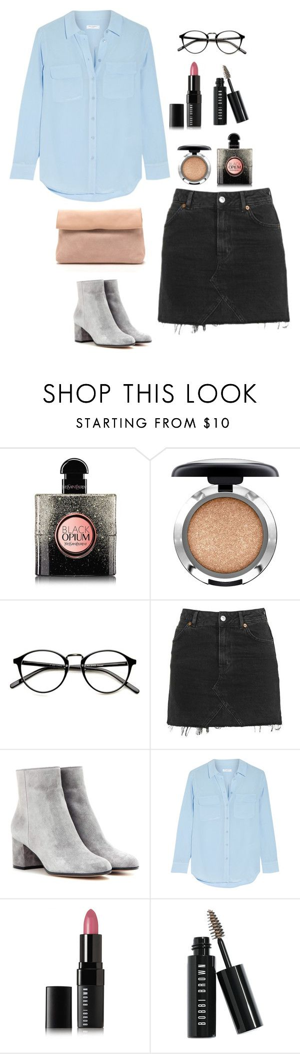 """""""blue in my"""" by vasilikh on Polyvore featuring Yves Saint Laurent, MAC Cosmetics, Topshop, Gianvito Rossi, Equipment and Bobbi Brown Cosmetics"""