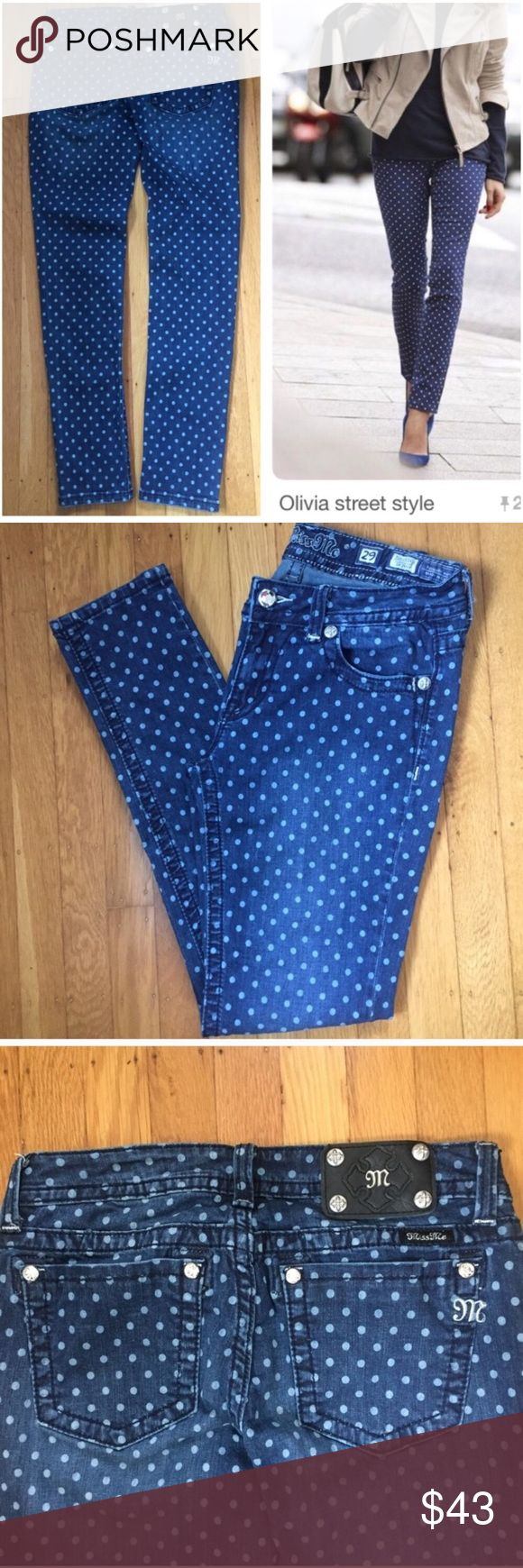 Miss Me Jeans Poka Dot Skinny Jeans. Miss Me Jeans Poka Dot Skinny Jeans. Pic one shows example of Poka Dot Jean outfit on right and jeans for sale on right.  Jeans have darker and lighter areas that can be seen when enlarging pictures.  So pretty. Miss Me Jeans Skinny