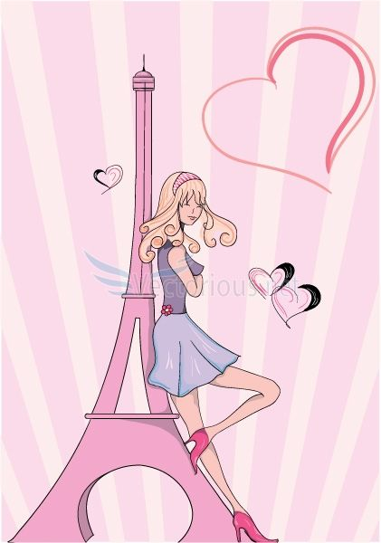 paris doodles with lady vector background