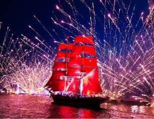 The Scarlet Sails is the most massive and famous public event during the White Nights Festival. The tradition is highly popular for spectacular fireworks, numerous music concerts, and a massive water-show including battle among tens of boats full of pirates on the waters of Neva River.