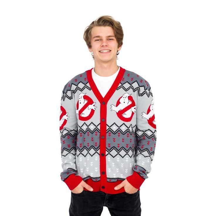 Ghostbusters Logo Ugly Christmas Cardigan Sweater Grey