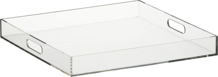 format tray, acrylic (Lucite?) from CB2. Beautiful for makeup storage? Vanity?
