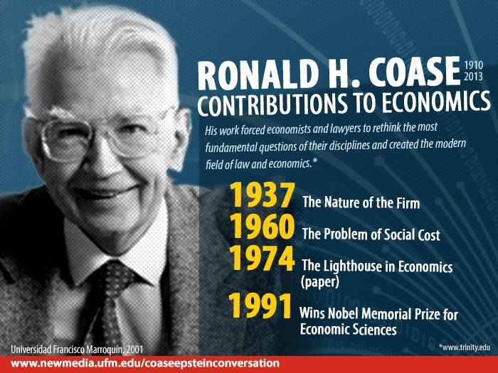 Ronald H. Coase work forced economists and lawyers to rethink the most fundamental questions of their disciplines and created the modern field of law and economics.