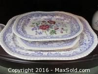 China Set China set includes eight dinner, salad and dessert plates, six cups and saucers, six soup, salad and dessert bowls, platters teapot, serving bowl, sugar, creamer and more stamped Copeland Spode England Mayflower 2/8772.