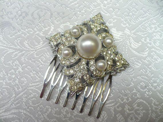 Vintage Bridal Hair Comb  signed Sarah Coventry by ElegantiTesori, $69.99