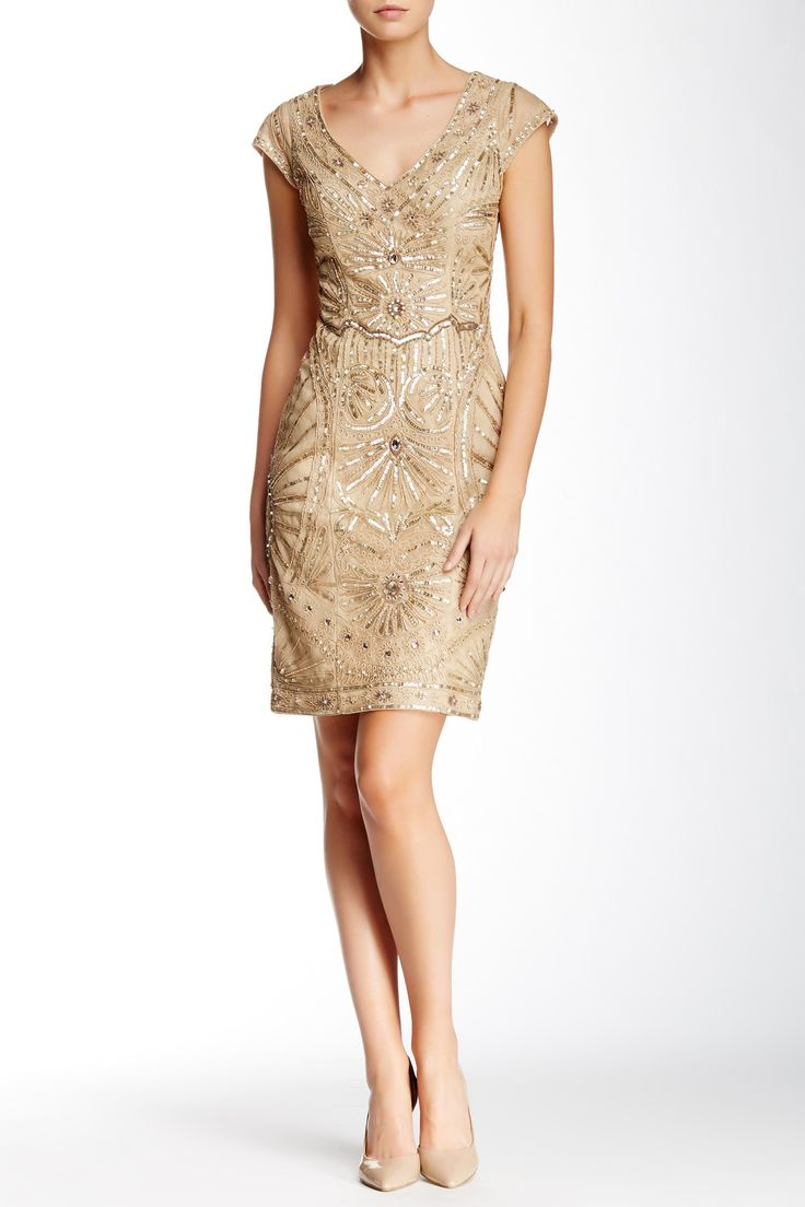 Sue Wong | Embellished Illusion Sheath Cocktail Dress | Nordstrom Rack