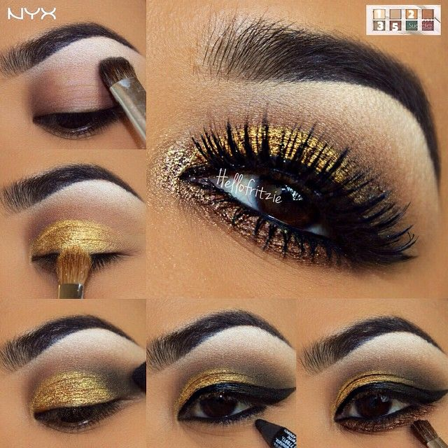 Gold makeup with brown and black eyeliner