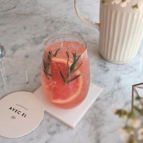 Beautiful mixed drink inspiration |grapefruit, citrus, herbs, rosemary. Perhaps hibiscus powder for natural coloring