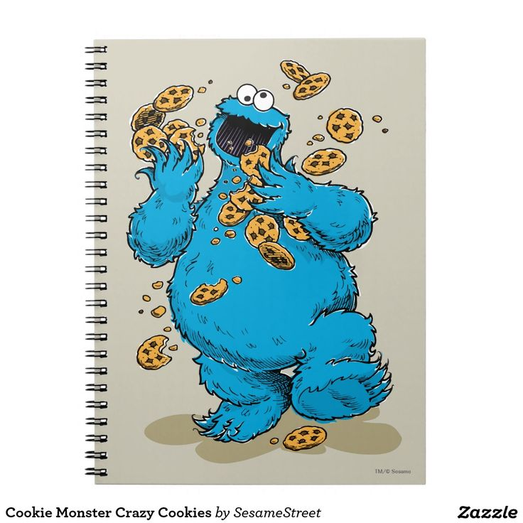 Cookie Monster Crazy Cookies. Regalo, gift. #cuaderno #notebook