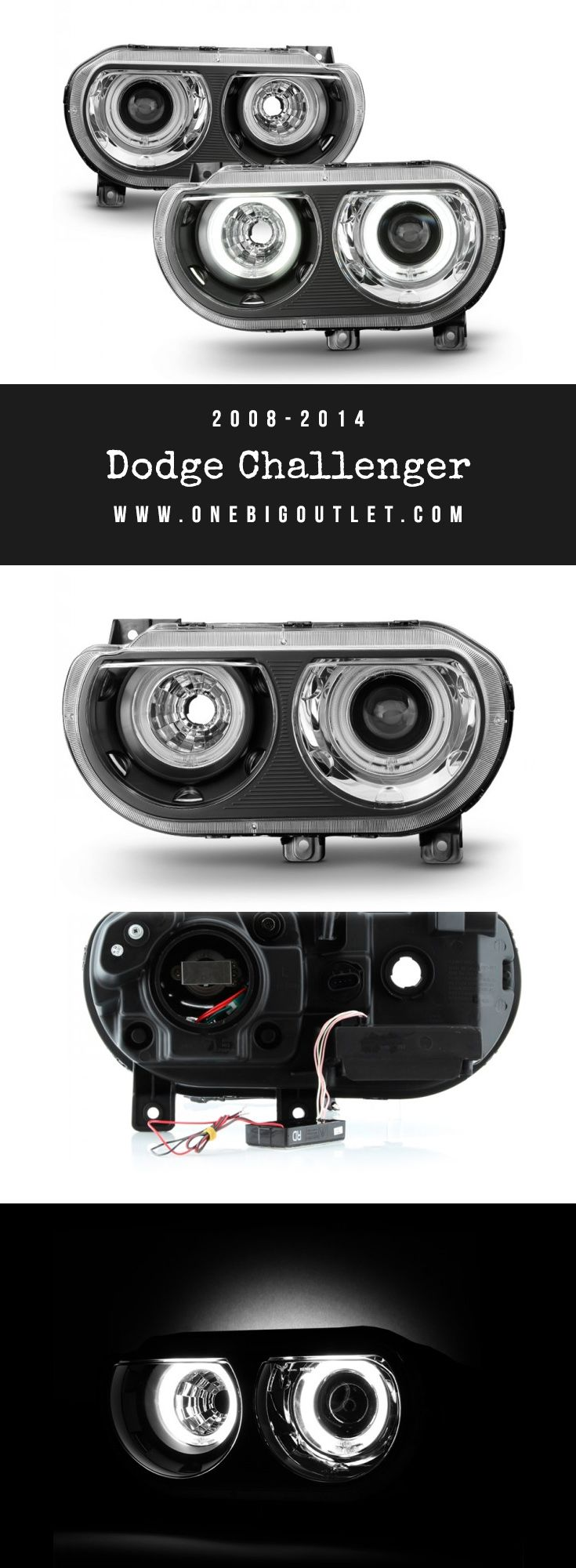 2008-2014 Dodge Challenger | Halo Projector Headlights in Black | Dodge Challenger | Headlights