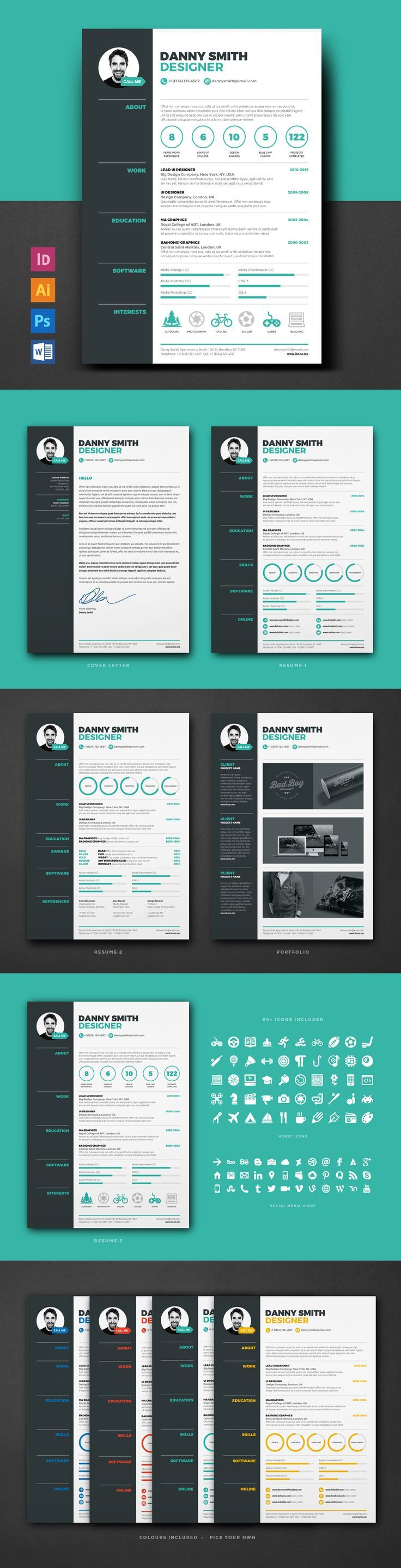 17 best ideas about creative cv template creative professional creative resume template for ms word modern resume design cv template design instant digital anna