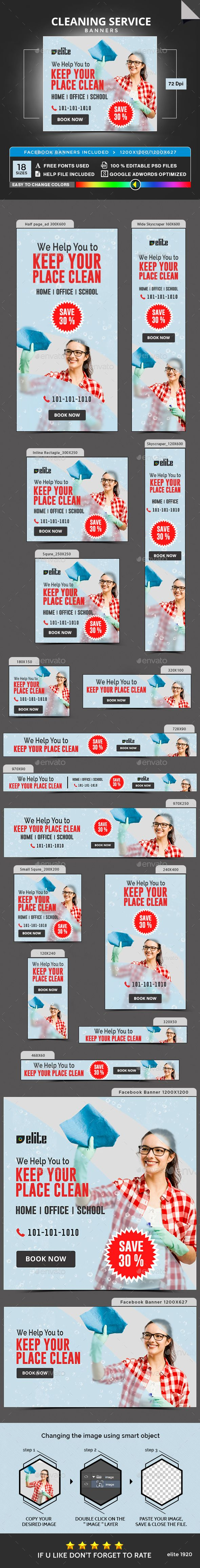 Cleaning Service Banners Template PSD