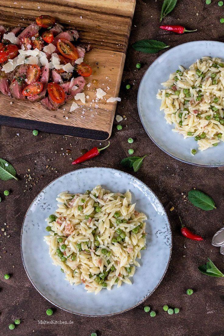 Risoni mit Pancetta & Erbsen. In 25 Minuten zubereitet.   malteskitchen.de