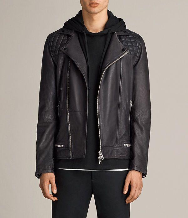 Mens Conroy Leather Biker Jacket (INK NAVY) - product_image_alt_text_1