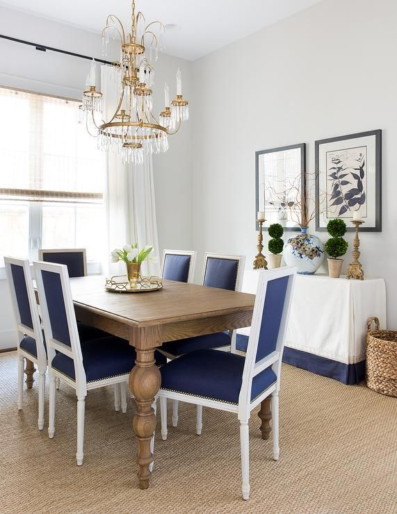Gray Acai Dining Table With Blue French Dining Chairs. Gorgeous Blue And  Beige Dining Room Features A Restoration Hardware C.