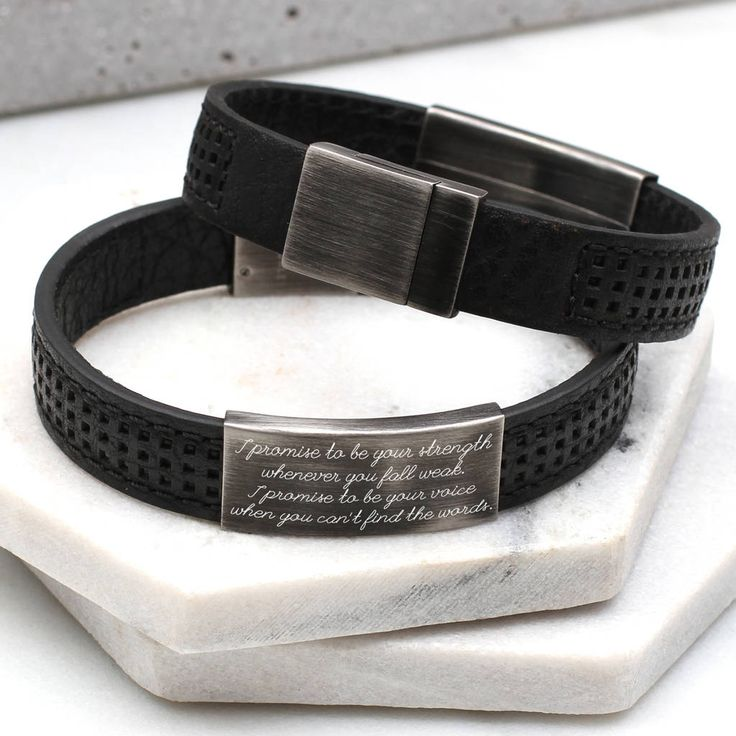 Mens Personalised Leather Message Bracelet