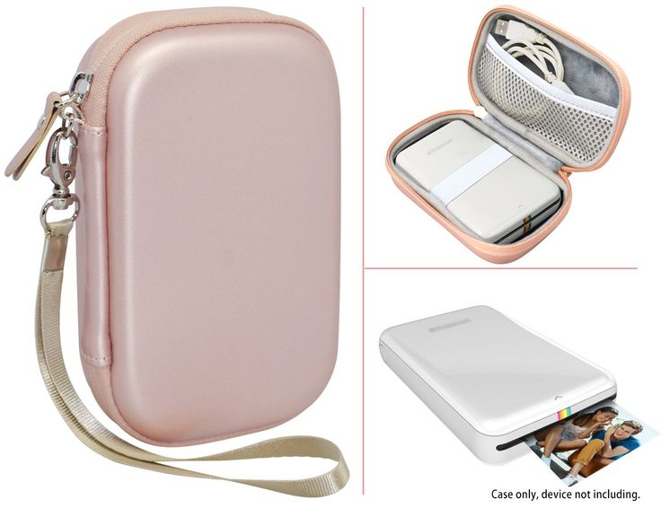 Travel Case for HP Sprocket Portable Photo Printer, Polaroid ZIP Mobile Printer and other similar size Portable Printer, with Pouch for Photo Paper and Cable, Compact size Fashion Design (Rose Gold)