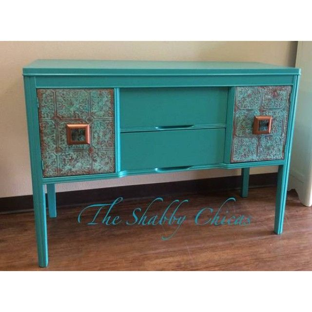 Modern Masters Metal Effects Verdigris Patina on Door Fronts | Patina on Furniture | Instagram share by The Shabby Chicas