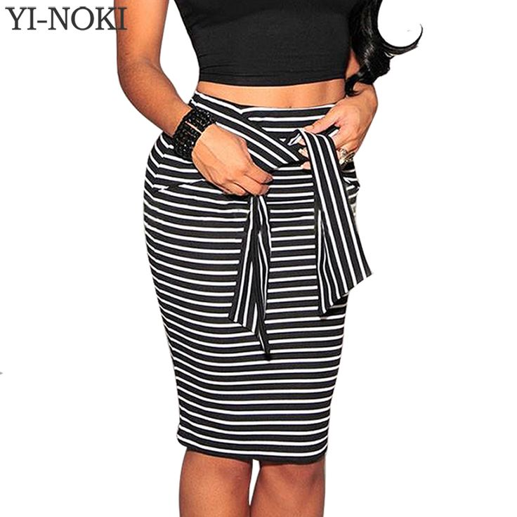 YI-NOKISkirt Fashion Women High Waist Stripe Lace Skirt Plus Size Bandage Mini Pencil Skirts White Black Sexy Bodycon  Skirt