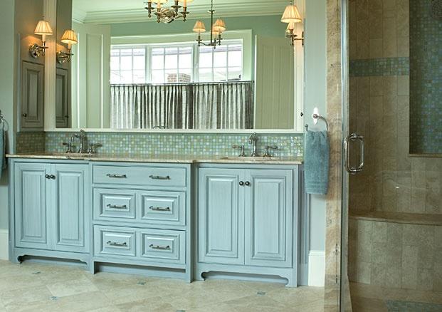 Love the cabinet color  the tile accent at backsplash