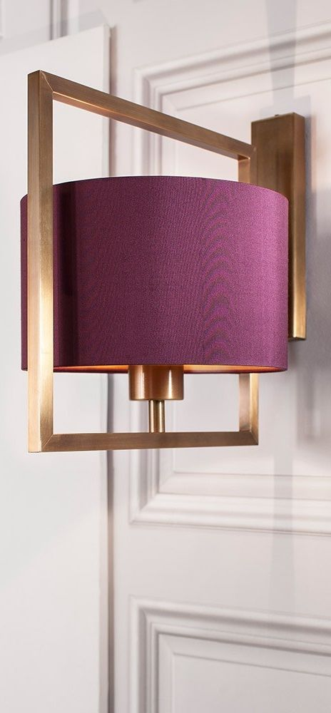 custom plum fabric shade modern wall sconce