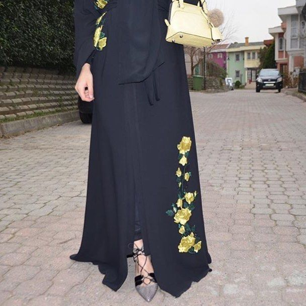 EID abaya with flower embroidery