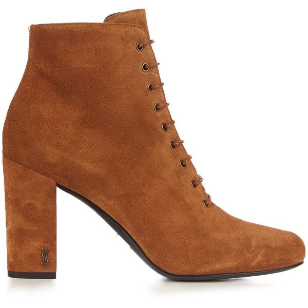 Saint Laurent Babies lace-up suede ankle boots (2.055 BRL) ❤ liked on Polyvore featuring shoes, boots, ankle booties, saint laurent, tan, suede boots, tan booties, block heel ankle boots, ankle boots and block heel booties