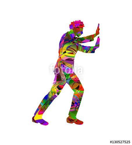 Vettoriale: illustrazione vettoriale di uomo che spinge