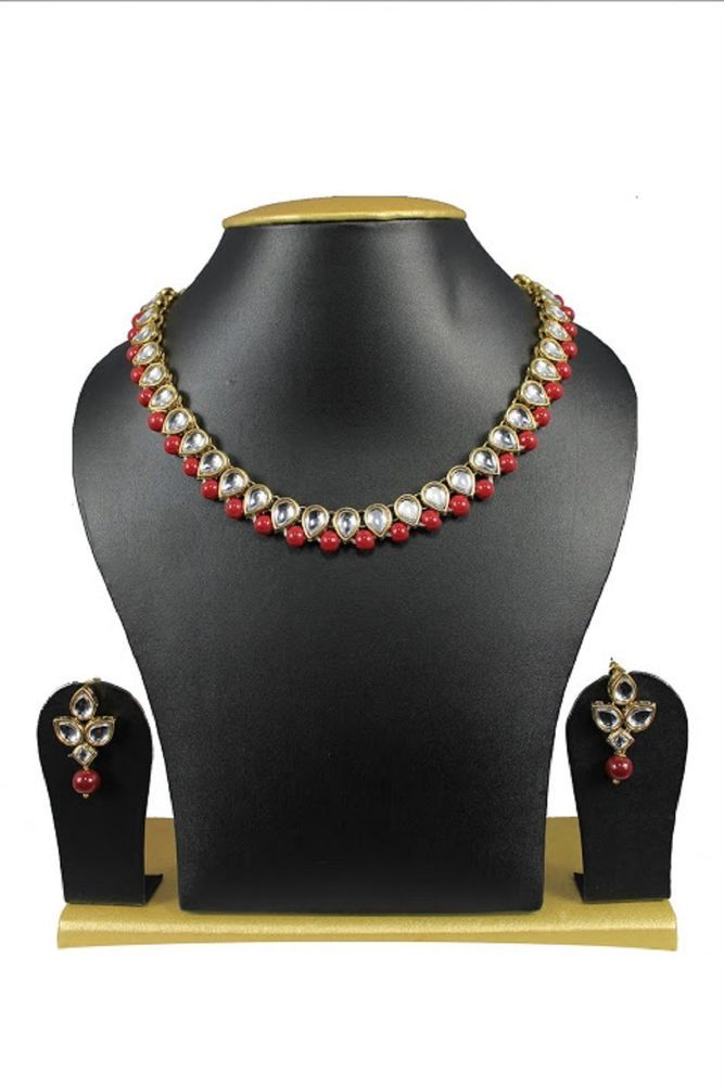Ebay Indian Bollywood Red Pearls Gold Plated kundan Wedding Wear Necklace Set #natural_gems15 #GoldPlated