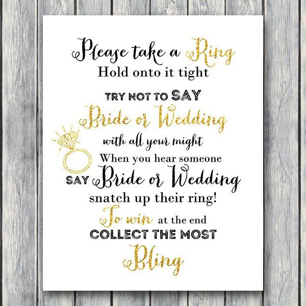DOWNLOAD Gold Glitter Don't Say Bride Or Wedding In 2019