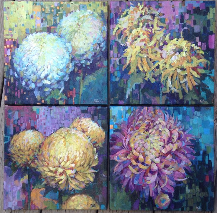 "Set of four new paintings ""Auspicious chrysanthemums"" Acrylic on canvas 8x8 each piece"