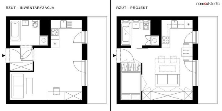 """""""Głównym założeniem projektu było stworzenie funkcjonalnej przestrzeni dla pary na powierzchni 27 m2. Inwestorom zależało na wydzieleniu """"sypialni"""", """"jadalni"""" oraz """"domowego biura"""" w taki sposób, by dwie osoby niezależnie od siebie mogły swobodnie funkcjonować na małej powierzchni. Zdecydowano się na wyburzenie zbędnych ścianek wydzielających przedpokój, a otwierane drzwi do łazienki zastąpiono przeszklonymi drzwiami przesuwnymi - nie tylko ułatwiło to komunikację lecz również doświetliło…"""