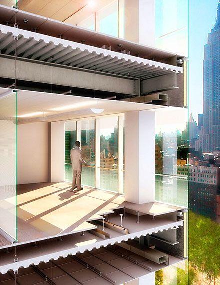 Sección renderizada... forjado colaborante, falso techo, estructura metálica...