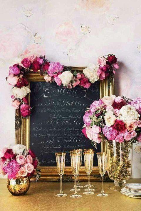 glam chalkboard menu, colorful flowers and gilded hem glassware