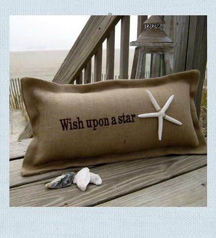 Seaside Inspired | Beach Decor | wish upon a star pillow from SeasideInspired.com.