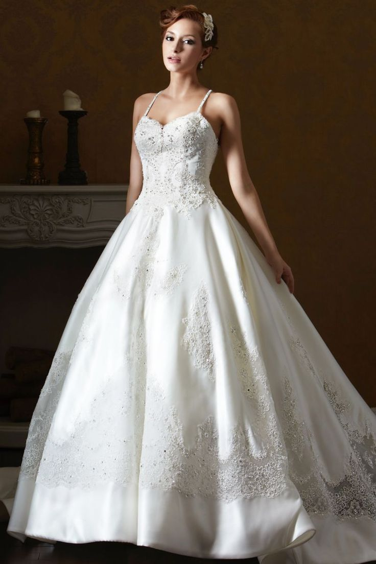 Trendy Satin wedding gown with sweetheart neckline A line skirt
