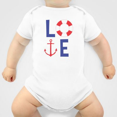 LOVE nautical red, white and blue - Anchor - Life Savor Onesie - patriotic - beach - sailor - us navy baby