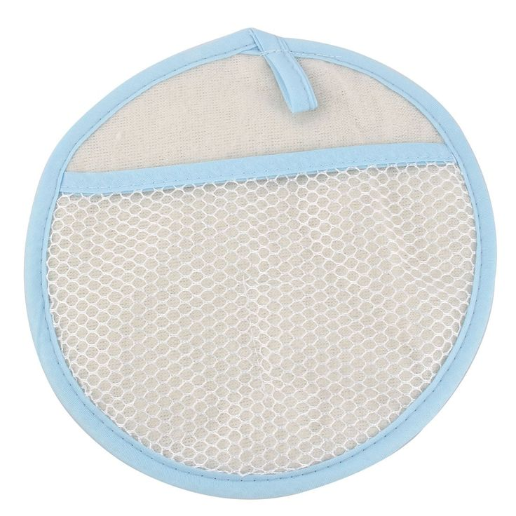Home Window Screen Cotton Blends Round Shaped Cleaning Glove Cloth Light Blue