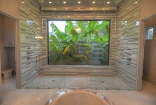 Asian Master Bathroom with Bidet, Bathtub, Shower, Paint 1, Java Tan Pebble Tile, Master bathroom, picture window, Flush