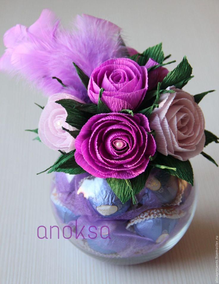 Купить Сладкий подарок - фиолетовый, сладкий подарок, сладкий презент, сладкий букет, букет из конфет