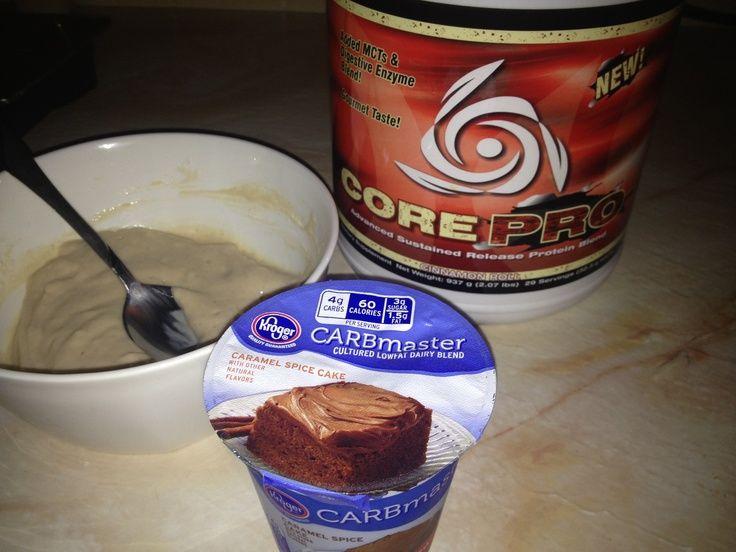 <3  Kroger Caramel Spice Cake Carbmaster Yogurt = AMAZING Protein Pudding