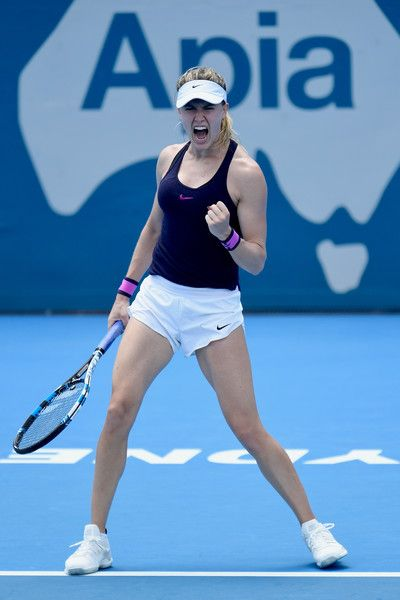 Eugenie Bouchard of Canada celebrates victory in her second round match against Dominika Cibulkova of Slovakia during day three of the 2017 Sydney International at Sydney Olympic Park Tennis Centre on January 10, 2017 in Sydney, Australia.