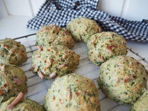 Skinkeboller | Lækker opskrift på skinkeboller med spinat & ost