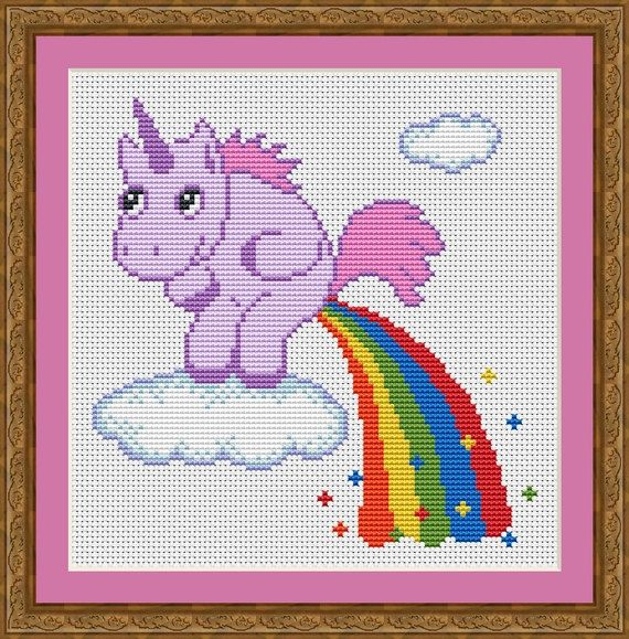 Funny Cross Stitch PDF Pattern Unicorn Pooping Rainbow ...