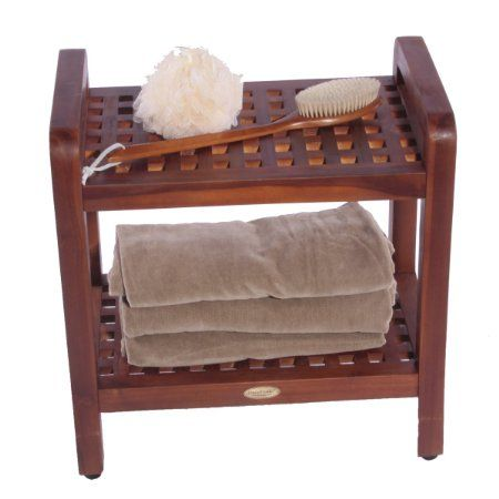 """Amazon.com - 18"""" Teak Grate Stool with Shelf with Lift Aide Arms- For shower, bath, sauna, living, or outdoors - Shower And Bath Safety Seat..."""