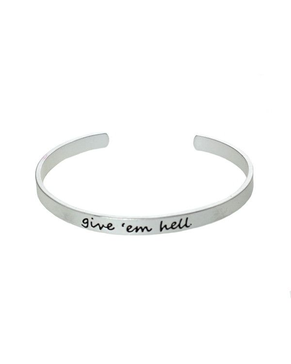 Give 'Em Hell Script Cuff Bracelet