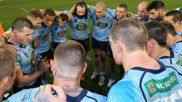 NSW captain Paul Gallen talks to his players after winning Game 2 of the State of Origin series in Melbourne.