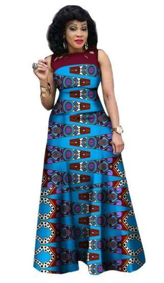 $48.07 #9 African Print African Sleeveless Sexy Dress Plus Size Dress BRW WY1341