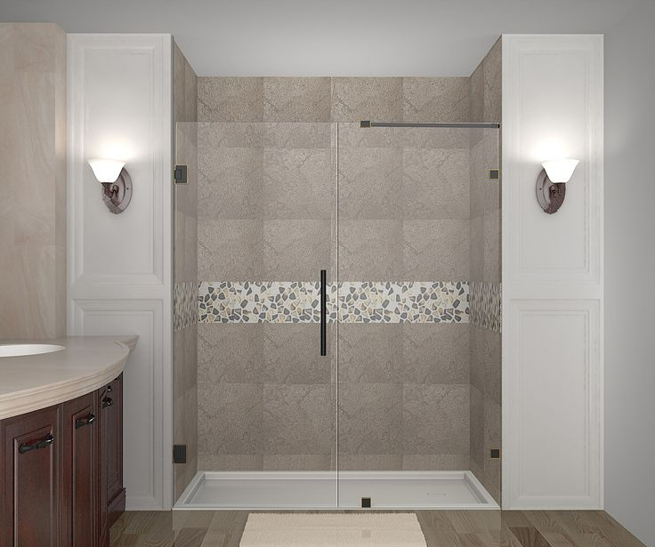 nautis completely frameless hinge alcove shower door in oil rubbed bronze finish hardware available in