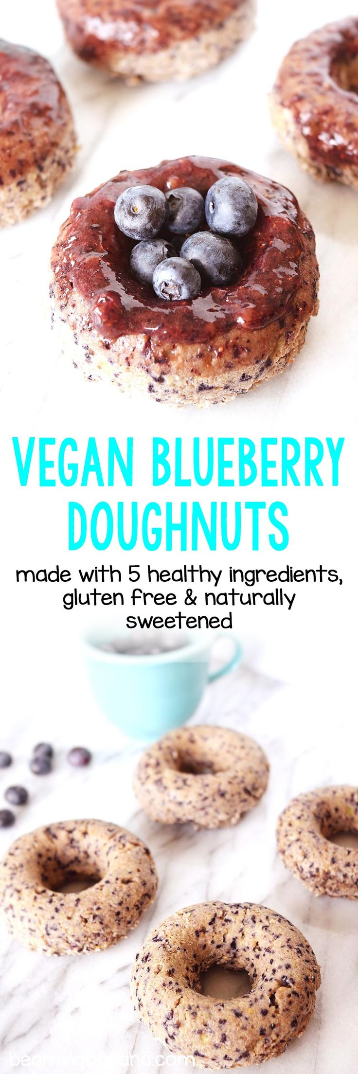 Soft, sweet vegan blueberry doughnuts are super easy to make and the perfect healthy treat for breakfast or dessert! These doughnuts are gluten free and naturally sweetened.